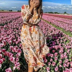 Zara floral print chiffon maxi shirt dress